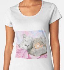 Naptime Buddies - Russian Blue Cat and Teddy Bear Women's Premium T-Shirt