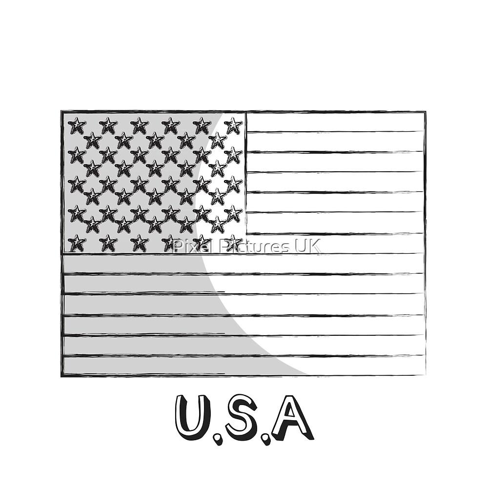 Stars And Stripes USA Flag Monochrome by swrecordsuk