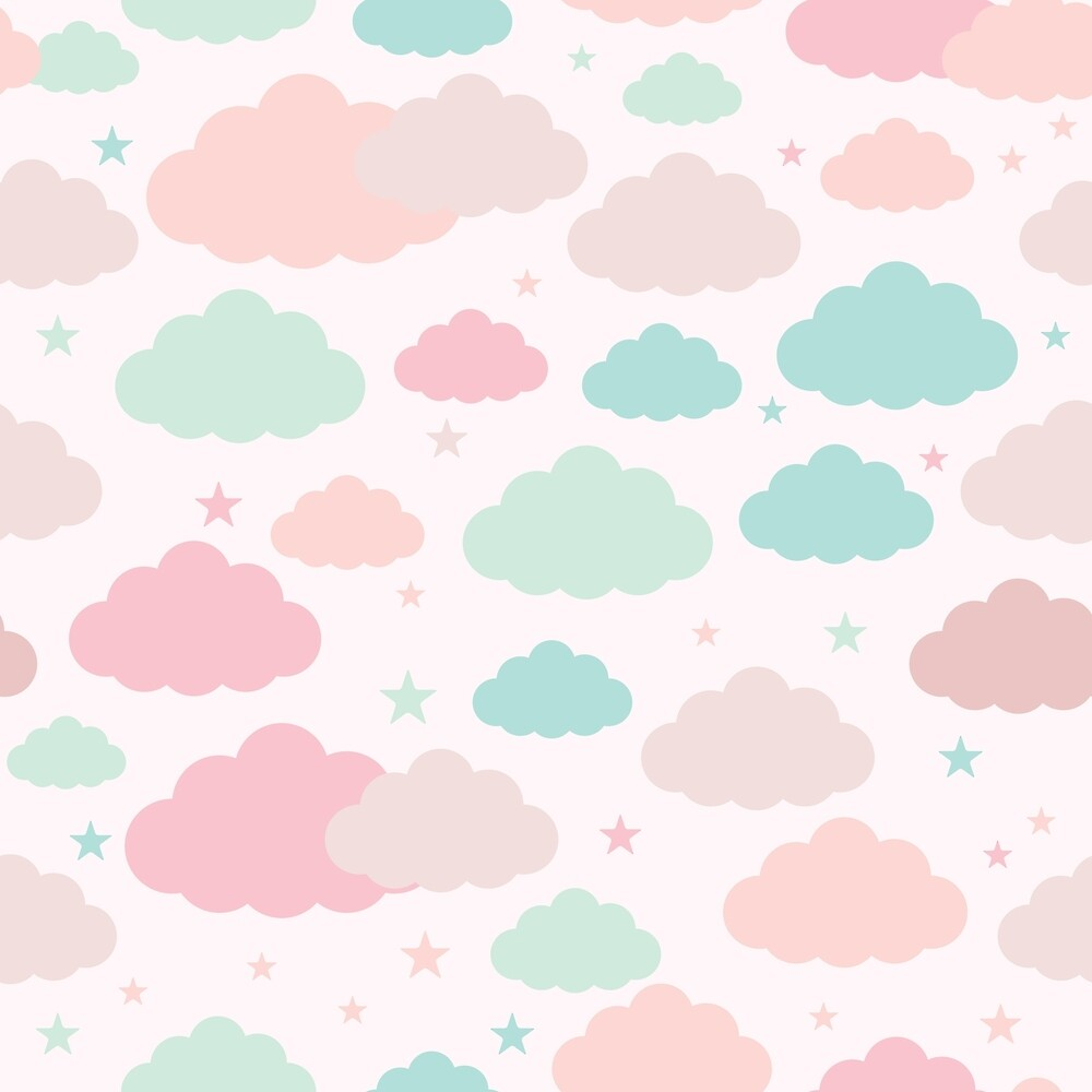 Pastel Rainbow Clouds Sky Pattern  by newburyboutique