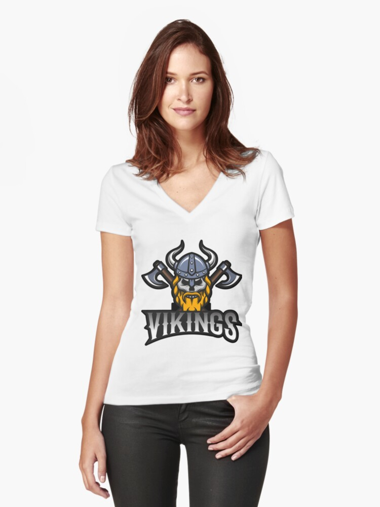 Vikings Women's Fitted V-Neck T-Shirt Front