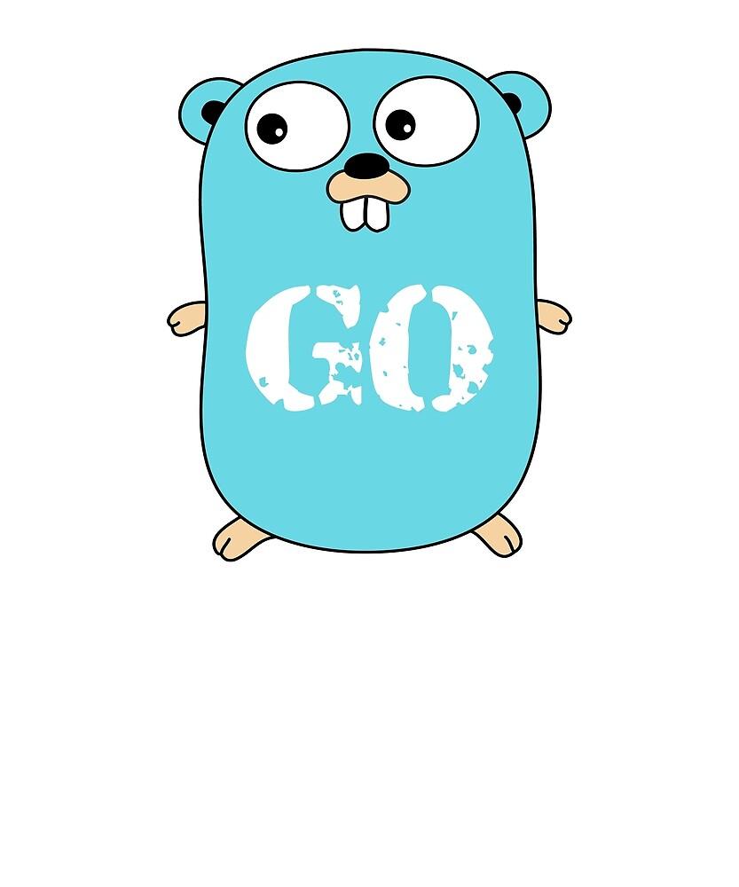 Go Logo T-Shirt Blue Mascot Transparent Word Text by Rainwater Merch