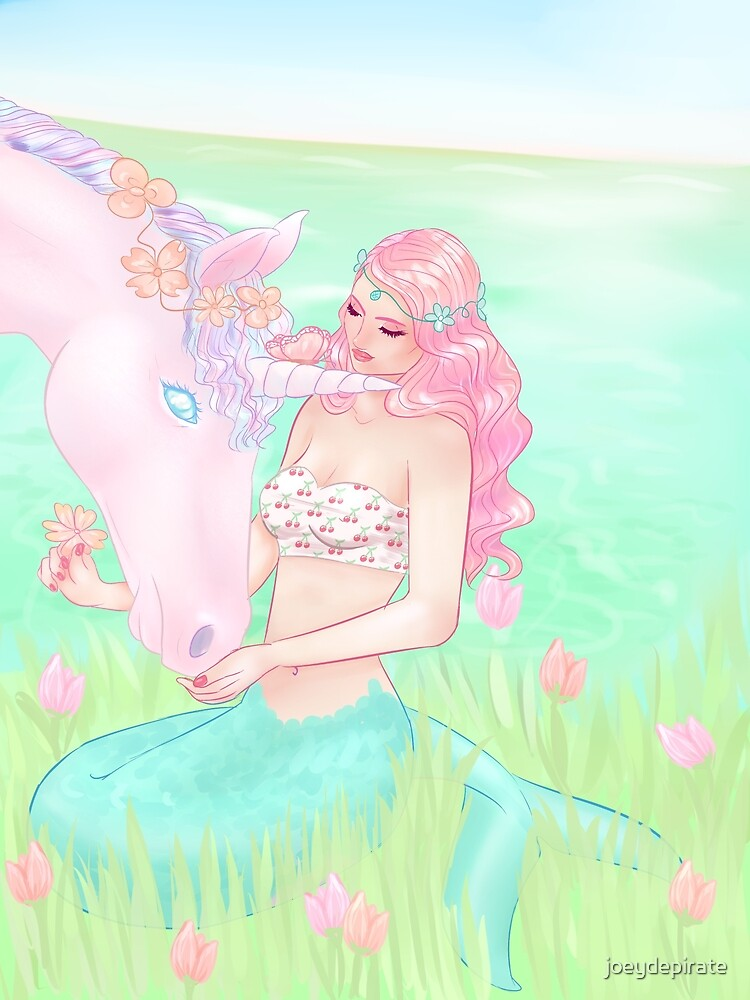 little mermaid with unicorn by joeydepirate