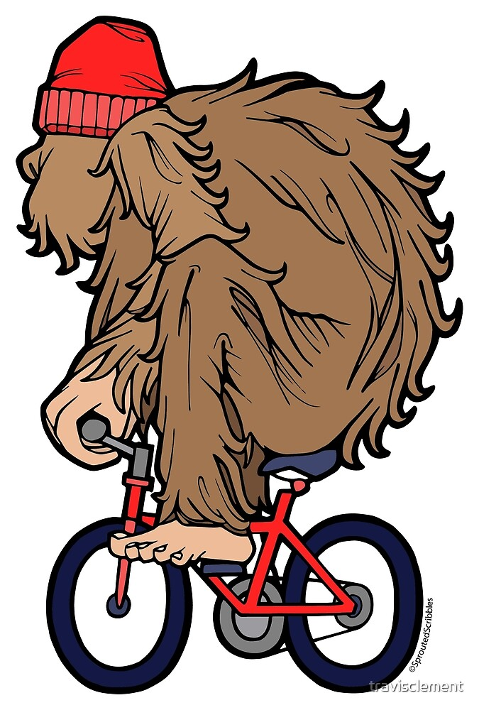 Yeti Sasquatch Bigfoot on a Bike by travisclement