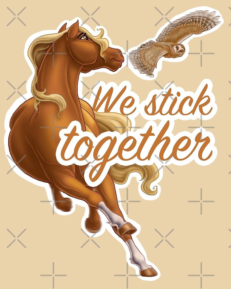We Stick Together Horse and Owl by Unicornarama