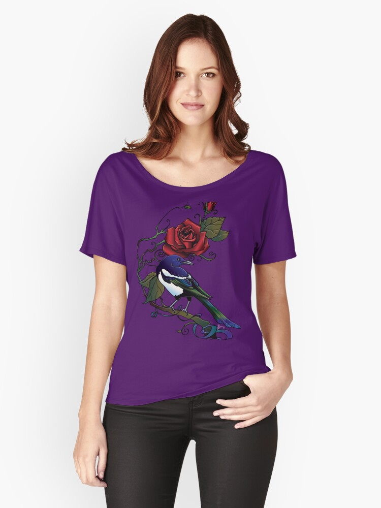 Red Rose Magpie  Women's Relaxed Fit T-Shirt Front