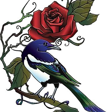 Red Rose Magpie  by LOrnamentalArt