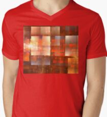 Red Pumpkin Cubes Men's V-Neck T-Shirt