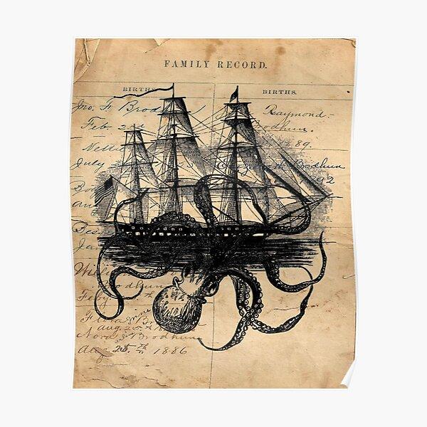 Kraken Attacking Ship on Ledger Design  KAS947 Poster