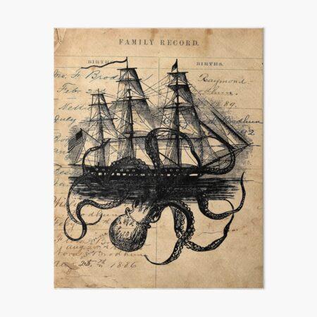 Kraken Attacking Ship on Ledger Design  KAS947 Art Board Print