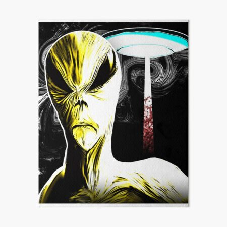 Extraterrestrial Alien and UFO Graphic Novel Style Art Board Print