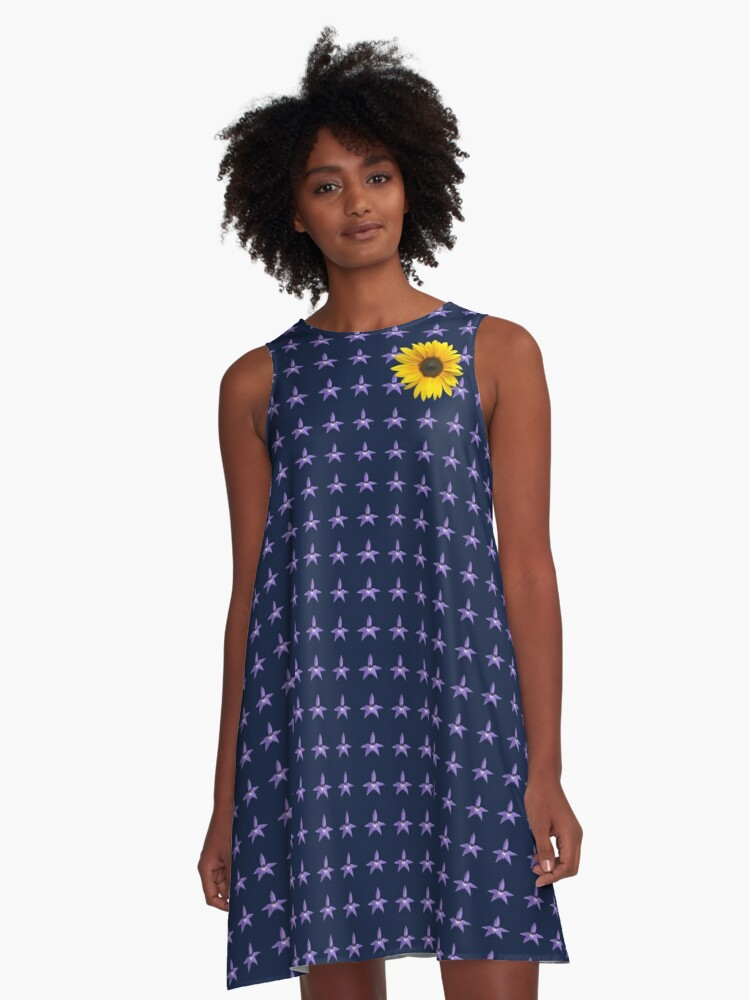 Sunflower on Orchids A-Line Dress Front