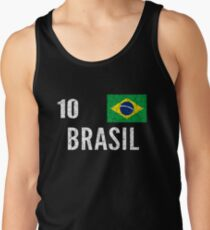 Brazil World Soccer Cup Jersey Number 10 World Football Cup 2018 Vintage Distressed Tank Top