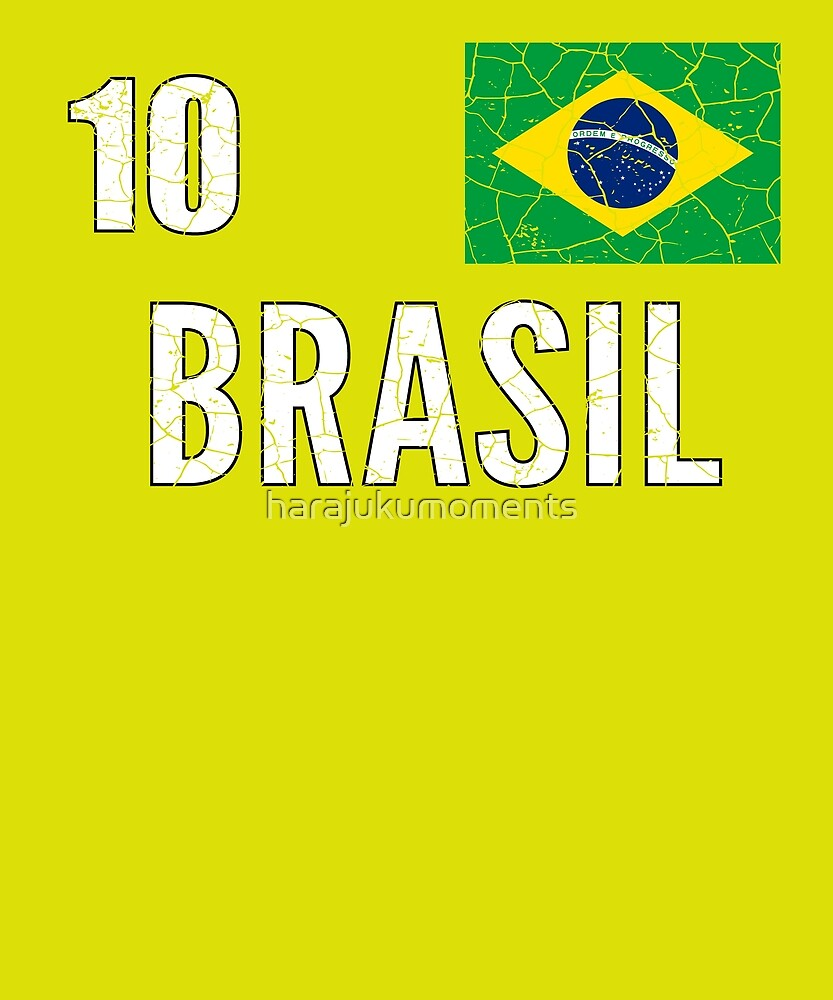 Brazil World Soccer Cup Jersey Number 10 World Football Cup 2018 Vintage Distressed by harajukumoments