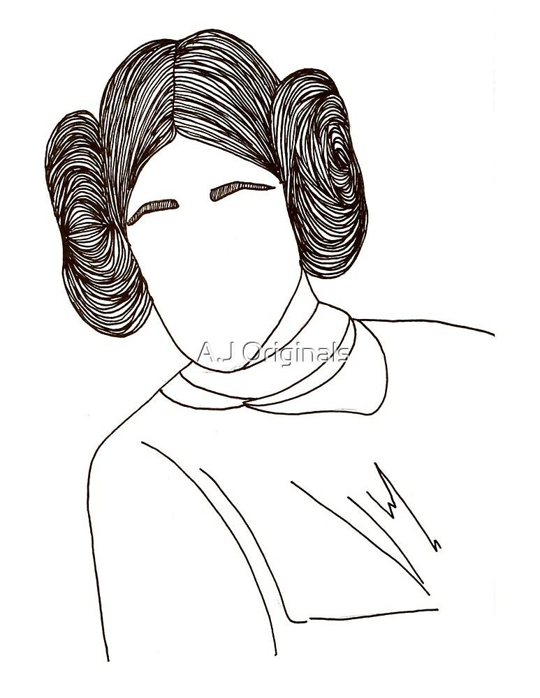 Princess Leia- Line Art by A.J Originals