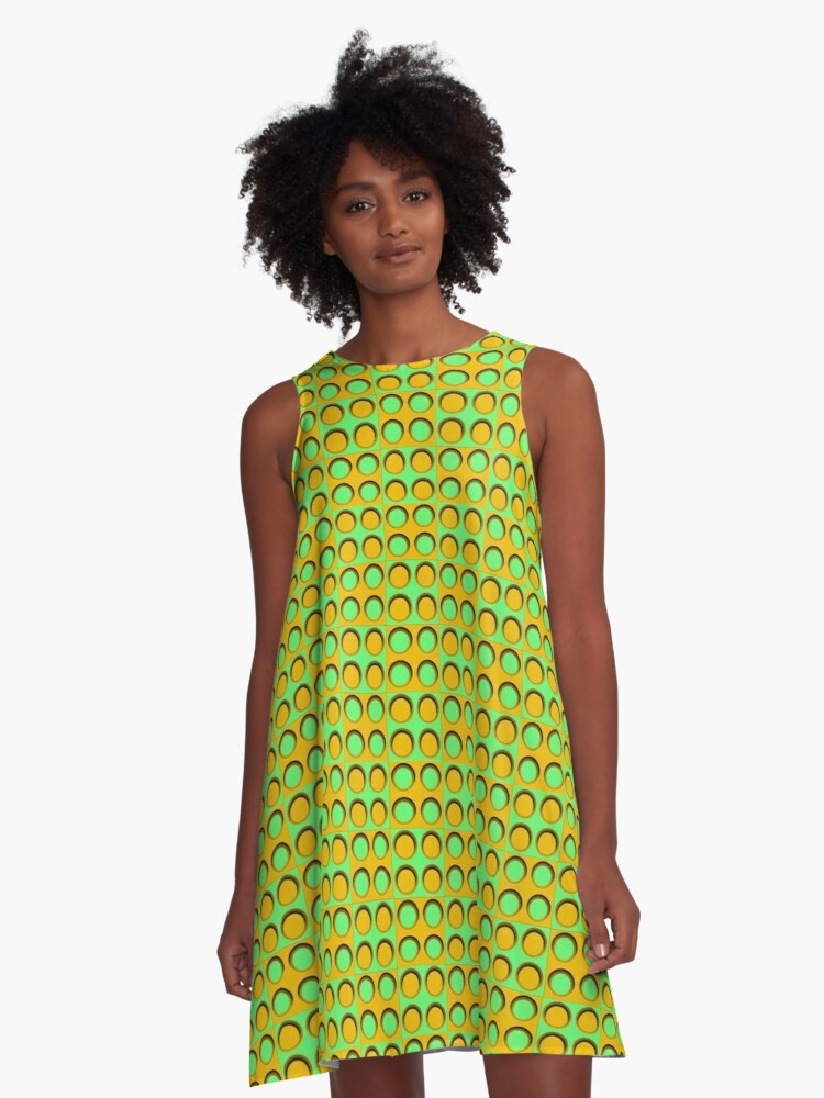 Pattern - 'Yellow-green Dice'. A-Line Dress Front