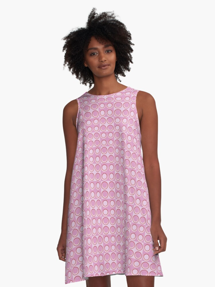 Pattern - 'Red-pink Dice'. A-Line Dress Front