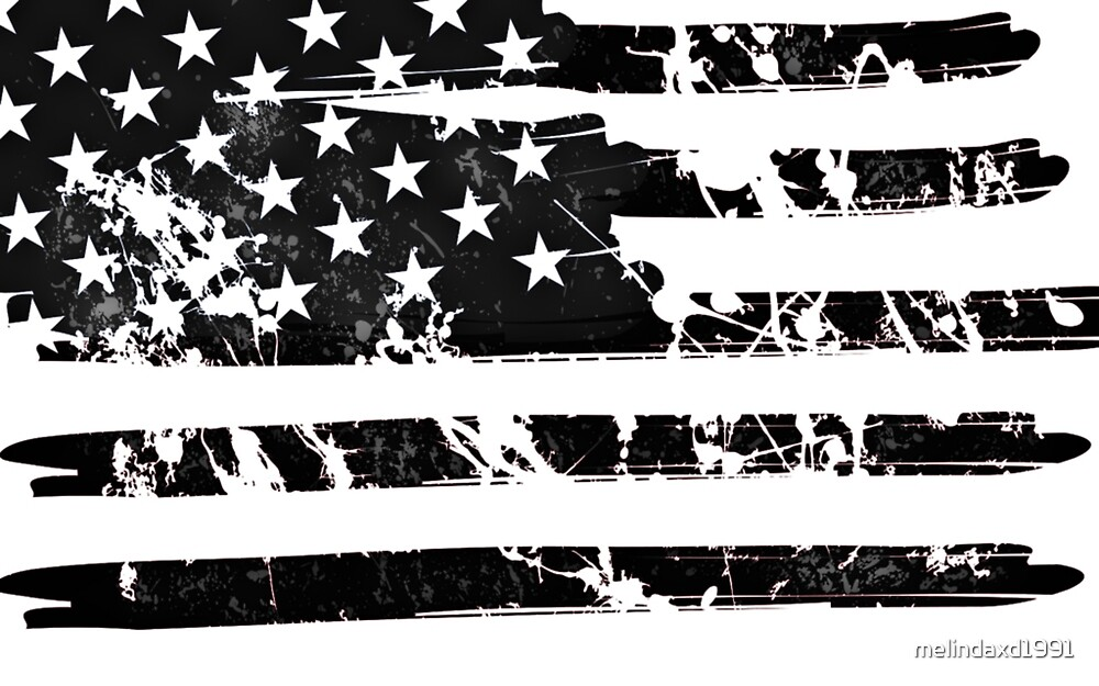 USA Flag Black and white by melindaxd1991