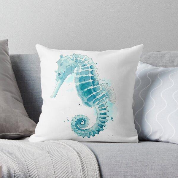 Watercolor Seahorse  Throw Pillow
