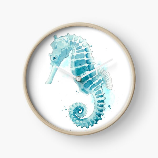 Watercolor Seahorse  Clock