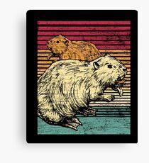 Retro beaver animal vintage tree trunks Canvas Print