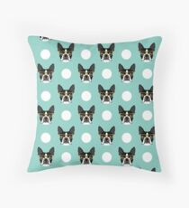 Logan - Boston Terrier pattern polka dots dog print gift for dog person dog lovers terrier custom Throw Pillow