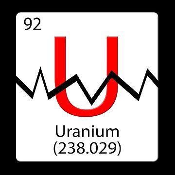 Periodic Chemical tile U. Uranium 238 split by stuwdamdorp