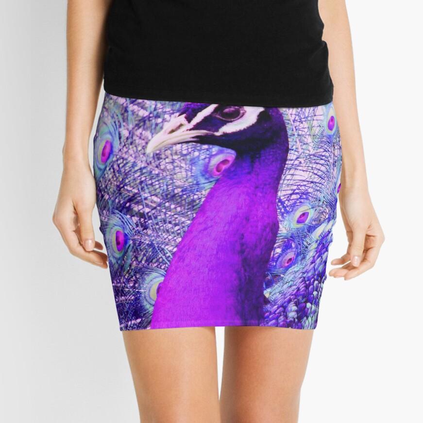 Purple Peacock Mini Skirt Front