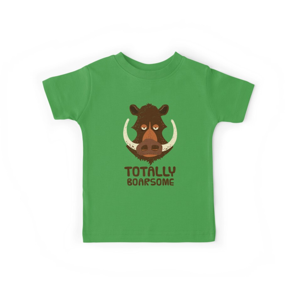 'Totally Boarsome - Cartoon Boar Pun ' Kids Clothes by propellerhead