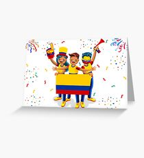 Colombia Flag Football Fans Greeting Card