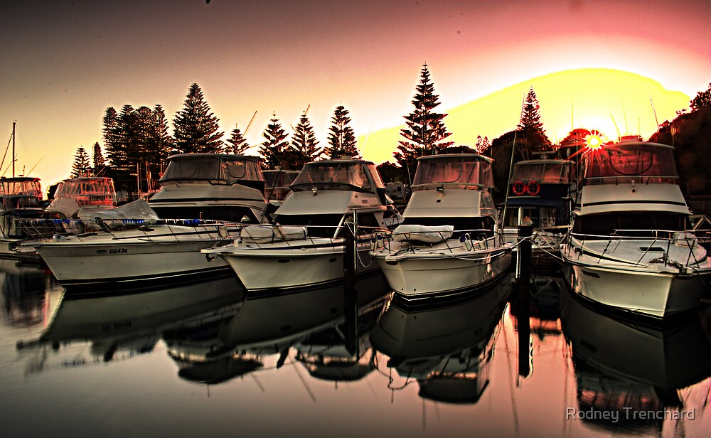 boats at sunrise by Rodney Trenchard