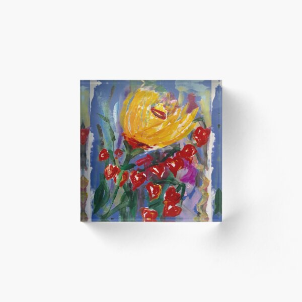 Painted Flowers of Tuscany  Acrylic Block