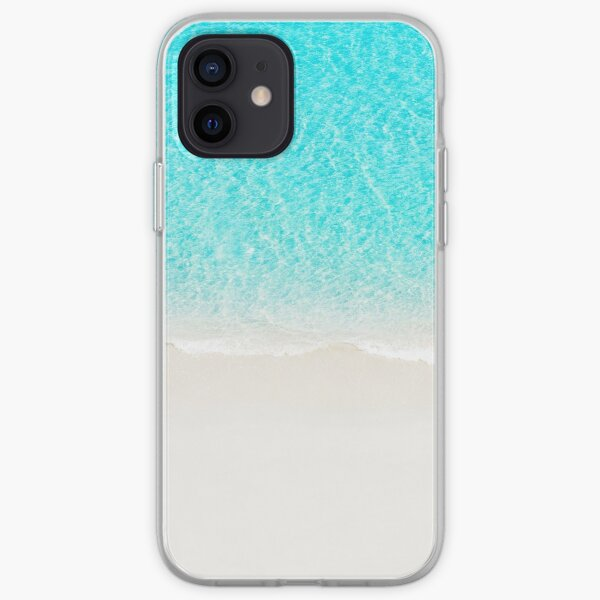Sand beach with turquoise sea waves iPhone Soft Case
