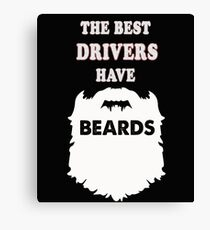 Driver gift beards t-shirt, taxi bus cab driving Canvas Print