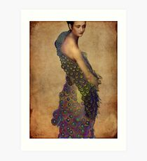 Peacock dress Art Print