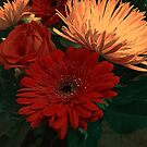 Pink Fugi Mums and Gerbera Daisy  by Vickie Emms