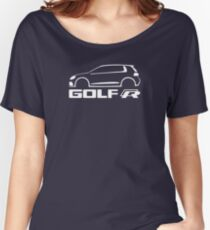 VW Golf R silhouette White Women's Relaxed Fit T-Shirt