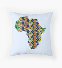 Zulu Beads in Shape of Africa  Throw Pillow