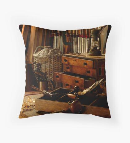 Craftman's Work Bench Throw Pillow