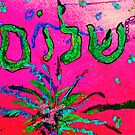 Shalom Celebrate Peace Green/Pink by hdettman