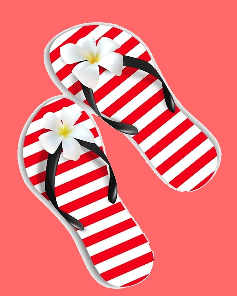 ec74414b9 White and red striped flip flops with tiara flower
