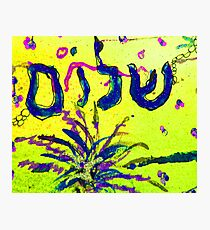 Shalom Celebrate Peace yellow and blue Photographic Print