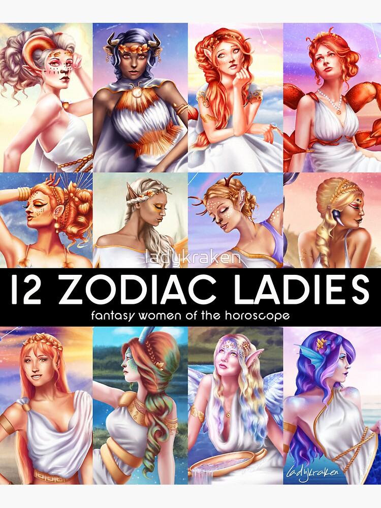 12 Zodiac Ladies by ladykraken