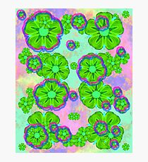 green hawaii flowers colorfull strange pattern wild roses  Photographic Print