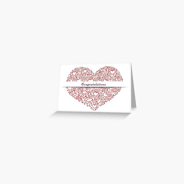 """""""Congratulations"""" in a red heart Greeting Card"""