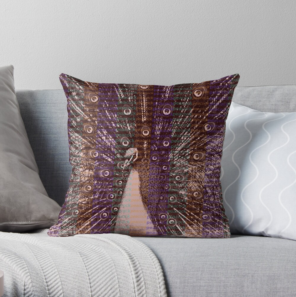 Peacock abstract Throw Pillow