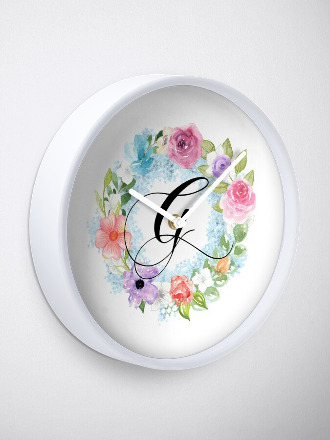 Alternate view of Watercolor Floral Wreath Monogram Letter G Clock