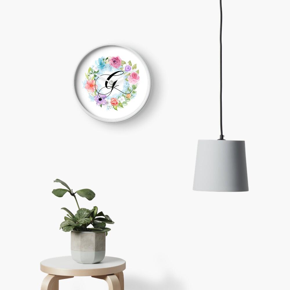 Watercolor Floral Wreath Monogram Letter G Clock