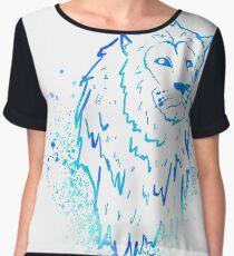 Blue Graphic Lion Chiffon Top