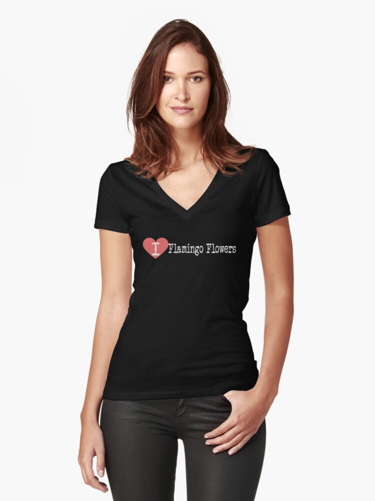 I Heart Flamingo Flowers   Love Flamingo Flowers Women's Fitted V-Neck T-Shirt Front