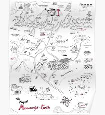 Die Karte der Manuskript-Erde Poster